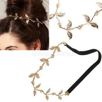 Leaf Leaves Grecian Garland Head Hair Band Headband Gold Olive Branch  NI5L