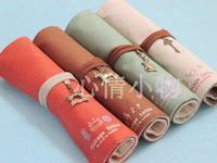 Korea stationery mori vintage large capacity zakka fresh roll pencil stationery storage bag