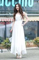 Bohemian dress beach dress irregular hem chiffon dress vest dress big swing dress