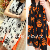 2013 Fall New Fashion Skull Printed Women Silk Chiffon Scarf Scarves And Shawls Cachecol  Big Beach Scarf