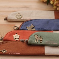 Mori zakka metal decoration vintage hemp small pencil case stationery bags 5