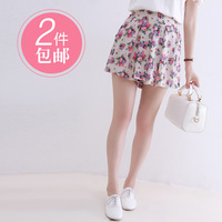 2013 summer women's fresh rustic elastic high waist pleated culottes shorts ae629