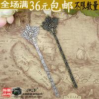 Hanfu cheongsam tibetan miao silver vintage hairpin lucky hairpin hair accessory bookmark dual x629