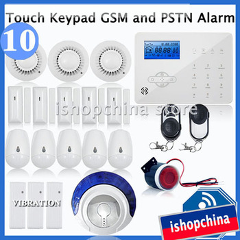 Touch Keypad LCD GSM + PSTN Wireless Home Office Security Burglar Alarm System w SMS Remote Control, Auto Dial,iHome328GPB10