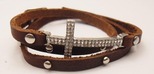 Sideways Cross Bracelet Leather Sideways Cross Leather Studded