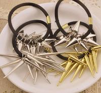 WHOLESALE! 20PCS/LOT Punk Fashion Elastic Hair Bands, MIX ORDER Rivet Hair Accessory metalic ponytail Free Shipping