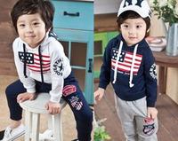 Retail Free shipping 2013 100% cotton children spring autumn suit, Kids set, boy girl long sleeve shirt + pants, 1set
