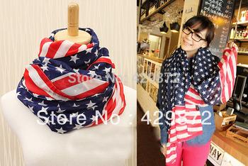 2013 Fall New Fashion American Flag Style Women Chiffon Scarf Scarves And Shawls Cachecol Beach Towel
