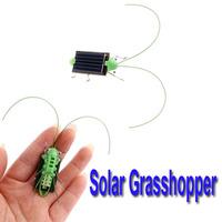 Hot Selling Mini Solar Energy Powered Child Toy Grasshopper Green Science 5pcs/lot,Freeshipping wholesale