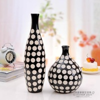Modern brief decoration furnishings ceramic vase crafts flower black and white dot classic home accessories