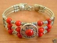 Tibet Red Coral silver bracelet
