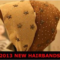 WHOLESALE! 10PC KOREA hairband, star dot wide cloth Headbands winter hair accessory Winter hair band FREE SHIPPING