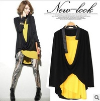 WT1370202--Europe and the United States women's fashion irregular spelling a long-sleeved two-piece vest T shirt