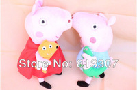 2pcs peppa pig & george pig pink cartoon stuffed plush 2 large size cute kids toddler toys