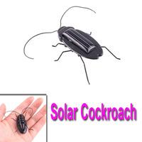 Freeshipping Solar Power Energy Black Cockroach Toy Fun Gadget Office School 5pcs/lot wholesale