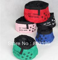 5Pcs/Lot Free Shipping Portable Pet Waterproof Bowl Oxford Cloth Dog Cat  Water Bowl