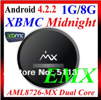 Free Remote Control, E MX Goggle tv box  Android 4.2 OS Dual Core Mini PC AML8726-MX CPU TV Box 1GB RAM 8GB ROM HDMI XBMC MX EMX