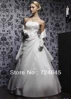 2013 Graceful Princeness White Taffeta Wedding Bridal Dresses Brildal Ball Gown Dresses Ball Prom Dresses