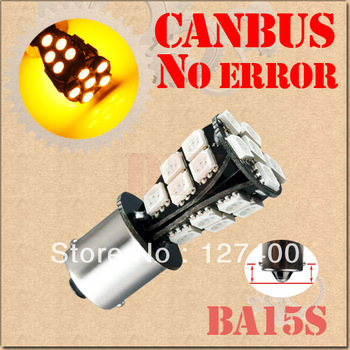DHL free shipping 100pcs 1156 BA15S 21 SMD 5050 Amber / Yellow CANBUS OBC No Error Car 21 LED Light Bulb