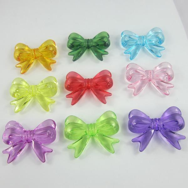 Free shipping 47*37mm acrylic bows Beads ,64pcs/lot chunky necklace beads.Acrylic mix colors chunky beads.(China (Mainland))