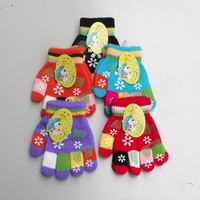 Winter child knitted full fingers gloves