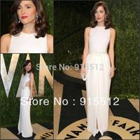Rose Byrne White Color Sheath Jewel Neck 2014 Red Carpet Dress Celebrate Dress