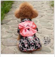 2013 New best design beautifl Lovely pet supply dog  coat, pet clothes, dog dress big  bowknot sakura kimono coat 5pcs/lot