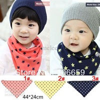 Baby 2-Layer Cotton Bibs Toddler Reversible Bandit Bandana Dribble Baby 5 Star Triangled Bibs 3Color