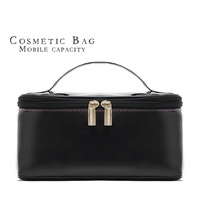 Free shipping Classic black big capacity PU shiny cosmetic portable storage bag