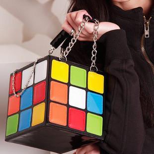 2013 Magic Cube Bag Cosmetic Bag  Lady's Fashion Handbag free shipping