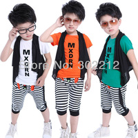 Kids Boys T-shirt + Striped Harem Pants Shorts + Tank Tops 3 Pcs Set Outfit Size 2-6 Years