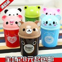 8pcs/Lot mini animal debris bucket cartoon desktop storage bucket desktop garbage bucket flip pen Free Shipping Random Color