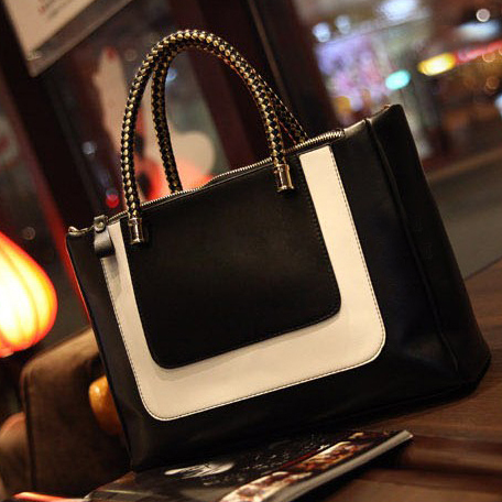 2014 Europe US New Black White Contrast Color Patchwork PU Leather Fashion Bags Perfume Lady Handbag Totes Shoulder Bag in Stock(China (Mainland))
