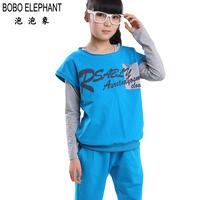 free shipping Female big boy set 2013 spring large female child sweatshirt piece set clothing women 160