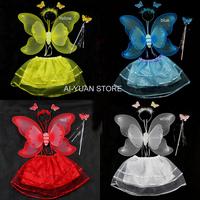children' cute performance costume/gift/dress angel butterfly wings+head hoop+fairy maiden stick+dress 4pcs/set  Free shipping