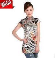 2014  short  qipao blouse summer tangzhuang Cheongsams short sleeve silk flower Cheongsams,10 color, free shipping