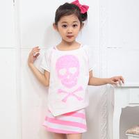 free shipping Balabala 2013 new arrival girls summer clothing cartoon short-sleeve T-shirt one-piece dress set