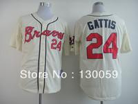 Free Shipping 2013 Cheap Men's Baseball Jerseys Atlanta Braves #24 Gattis White Color Jersey,Embroidery Logos