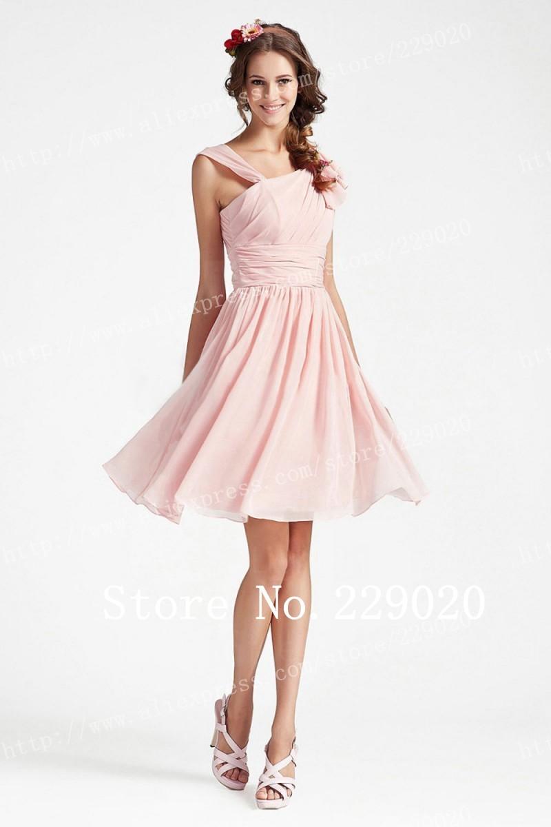 Recém- chegadas de um ombro corpete plissado Jovem Girl Pink Chiffon comprimento do joelho da dama de honra vestidos de baile vestidos de festa(China (Mainland))