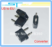 Free shipping 100Pcs/lot US to EU AC Power Plug Travel Converter Adapter  forhelicopter boat airplane car