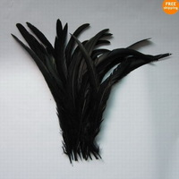 50Pcs Black Color Beautiful 12-14inches/30-35cm Rooster Tail For Costume&Mask