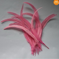 50Pcs Pink Color Beautiful 12-14inches/30-35cm Rooster Tail For Costume&Mask