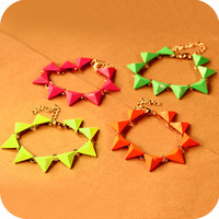 Wholesale Price  Min order $ 10 Mix order fashion  vintage punk trigonometric shaped fluorescence color bracelet   17g