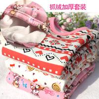 free shipping Child 2013 female child baby thermal underwear set 100% cotton fleece thickening sleepwear lounge clothing