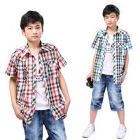 free shipping Male child shirt 2013 summer child sleeveless T-shirt short-sleeve casual plaid shirt twinset