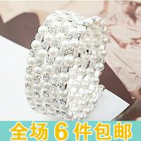 Accessories fashion multi-layer pearl rhinestone spirally-wound spiral bracelet wide bracelet female