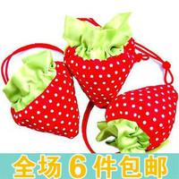 Strawberry shopping bag eco-friendly folding strawberry shopping bag tote