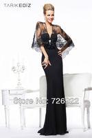 Fashion Black Evening Dress 2013 Noble V-Neck Sheath Floor Length Sleeveless Chiffon Beads with lace Dress Smock