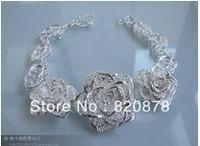 Wholesale handmade Tibet tibetan miao silver hand carved Men `s three roses bracelet fashion jewelry # 003