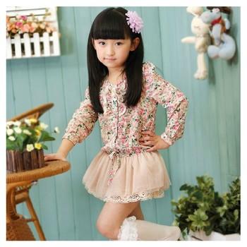 2013 new fashion princess girl flower chiffon tutu dress long sleeve children autumn dresses 5pcs/lot free shipping